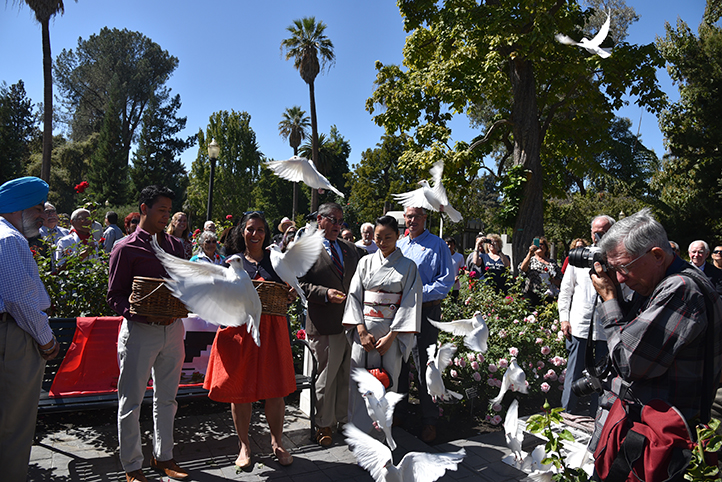 The dove release highlighted the unveiling ceremony.