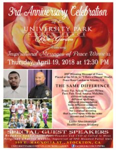 Flyer for 2rd Anniversary Celebration of the University Park World Peace Rose Gardens