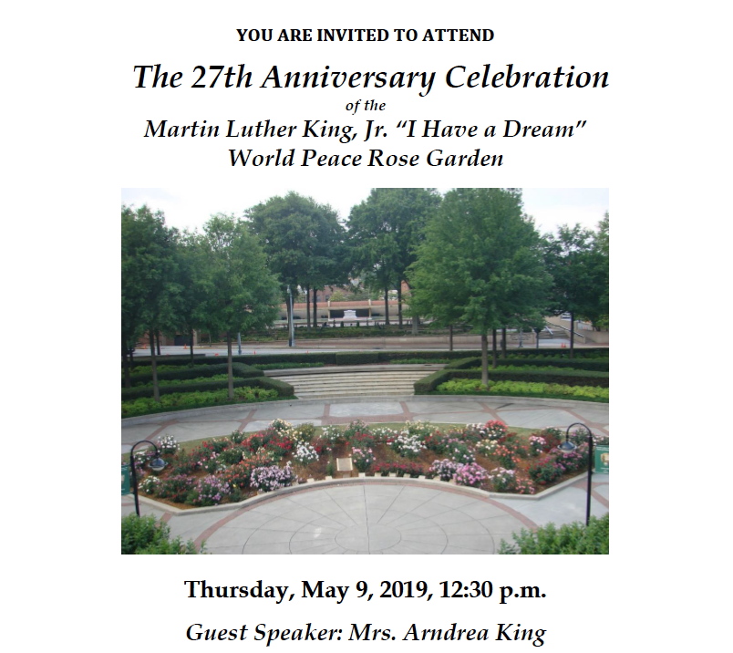 "You are invited to attend the 27th Anniversary Celebration of the MLK Jr "" I have a Dream"" World Peace Rose Garden flyer"