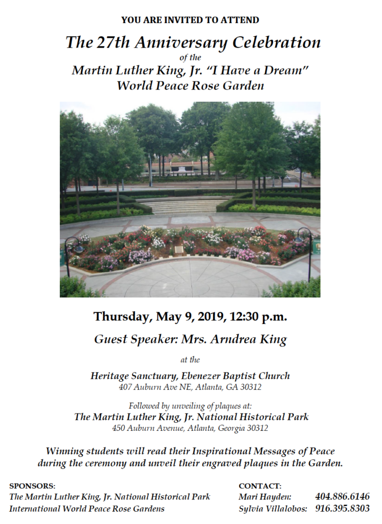 "Flyer invitation for 27th celebration of the MLK Jr. "" I have a Dream"" World Peace Rose Garden"