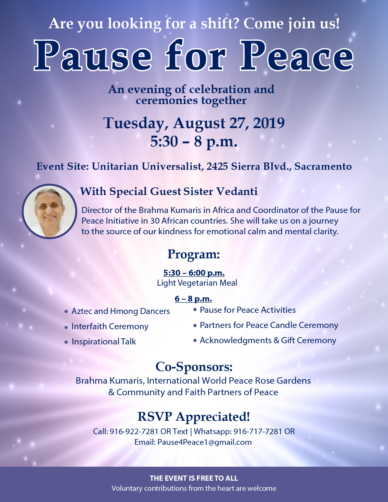 Sister Vendati Pause for Peace event flyer