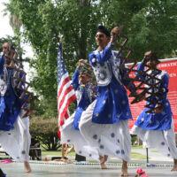Sikh men dancing in festive clothes