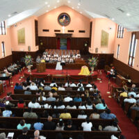 People gathered are the ceremony in Baptist Church
