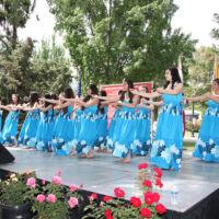 Hawaiian women dancing in blue festive dresses