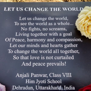 Let us Change the World Plaque