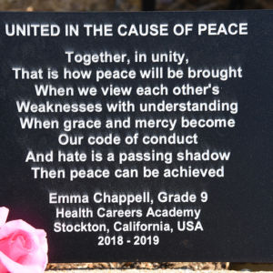 United in the Cause of Peace plaque