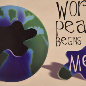 World Peace begins with me a puzzle made of a side of a graphic earth