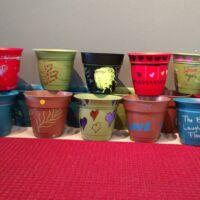 Different color flower pots