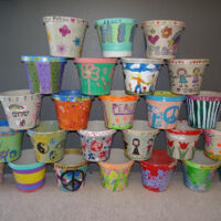flower pots of friendship stacked