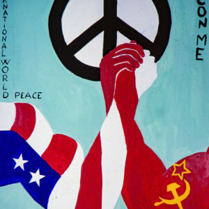 arm wrestling between American and USSR flag: world peace messages