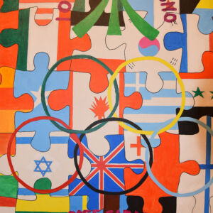 Many puzzle of world nations' flags connected together
