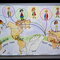 a world map where a white dove is holding balloons with people of different nations