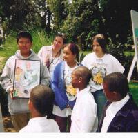 Children presenting their artwork
