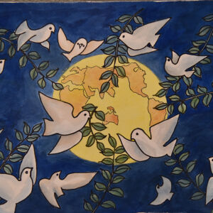white doves holding olive branches and flying around the plenet Earth