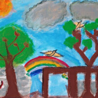 childrens art of birds, rainbow blue sky and green trees