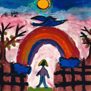 Child's drawing: a girl under a rainbow